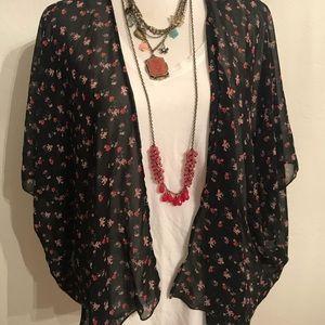 Divided black floral kimono cardigan